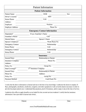 this printable patient information form can be used for intake in clinics and hospitals free to