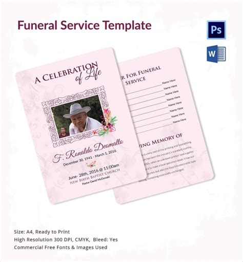 funeral service template 13 sle funeral service templates sle templates