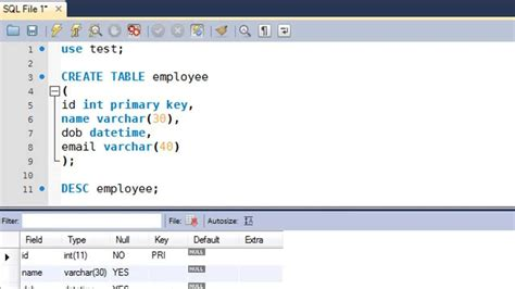 sql query to create table sql tutorial 9 create table statement youtube