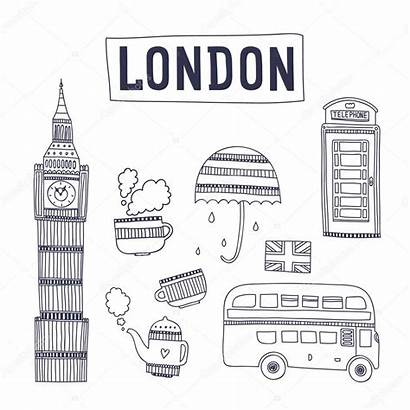 London Attractions Symbols Tourism Londres Ben Isolated