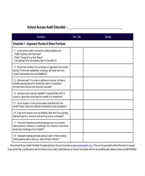audit checklist sample