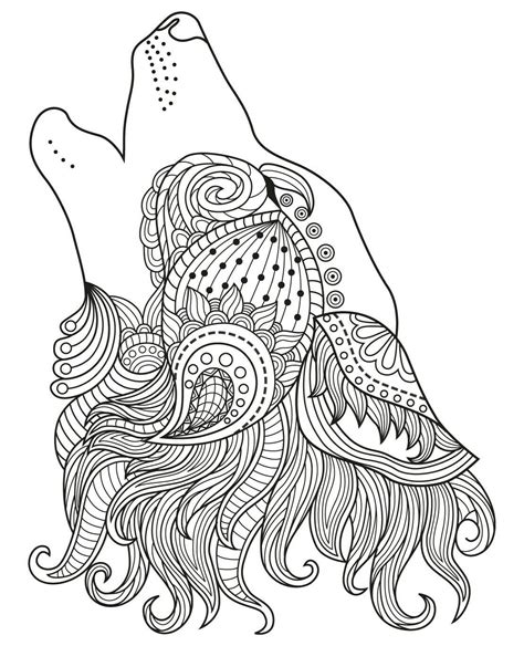 wolf coloring book wolf colouring page zentangles colouring