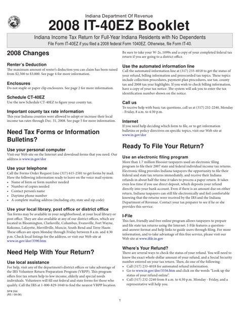 2008 it 40ez income tax booklet with form and schedule