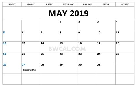 May 2019 Calendar With Holidays