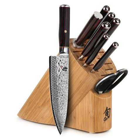 shun hiro sg knife block set  piece cutlery