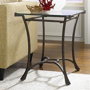 Strong Wrought Iron Wedge Shaped End Table With Glass Top
