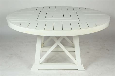white round outdoor table white round wooden outdoor table image 2