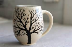 belly tree mug pottery coffee cup with painted tree in