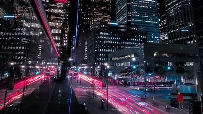 Night Street Buildings 4k Ultra Lights Skyscrapers