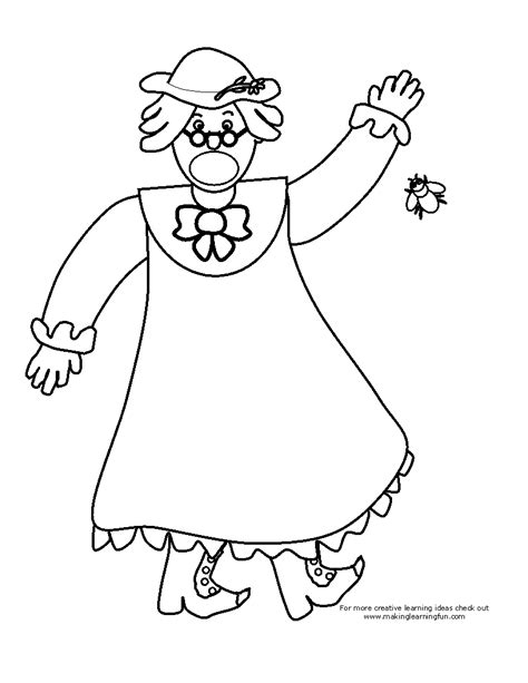 shoo clipart black and white there was an who swallowed a fly coloring page
