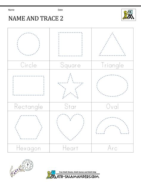 shape tracing worksheets kindergarten