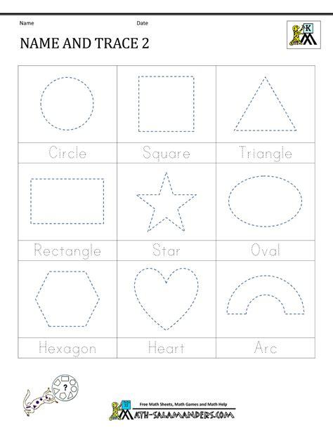 shape names worksheet shape tracing worksheets kindergarten