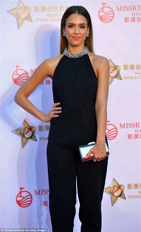 Jessica Alba dazzles in chic navy jewelled jumpsuit