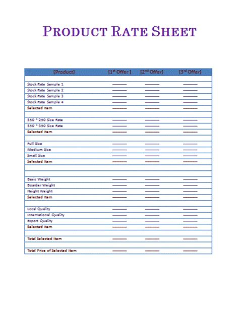 rate sheets templates rate sheet template free printable word templates