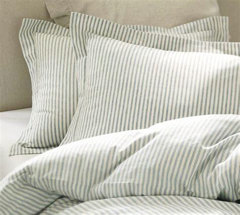 blue gray comforter pottery barn vintage ticking stripe duvet cover and sham
