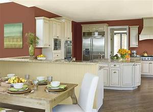 tips for kitchen color ideas midcityeast With kitchen colors with white cabinets with red and cream wall art