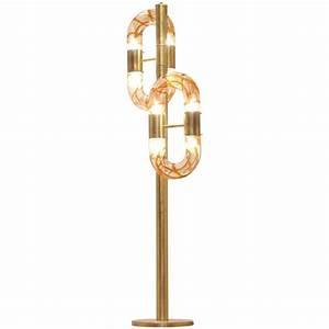 Italian design aldo nason pulegoso brass and glass floor for Designer glass floor lamp