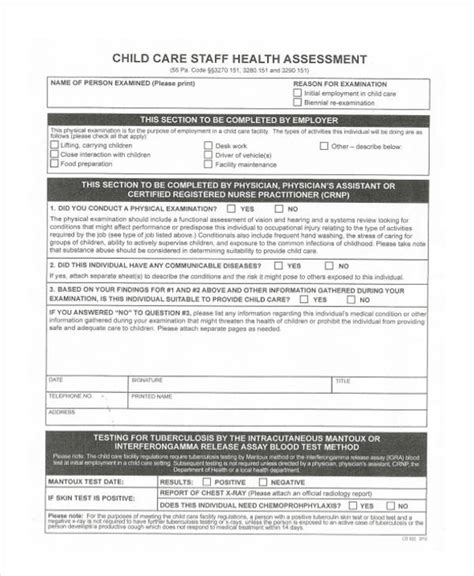 health assessment forms   ms word