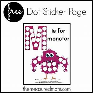 Dot sticker page letter m printable mom dots and stickers for Print letter stickers