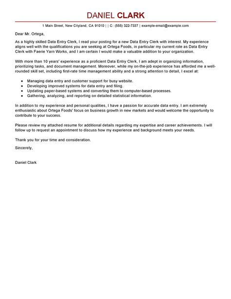Payroll Assistant Cover Letter Leading Professional Data Entry Clerk Cover Letter Exles Resources Myperfectcoverletter