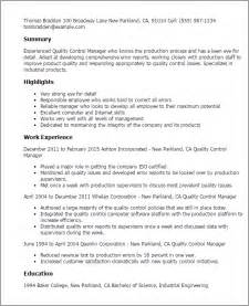 quality resume templates professional quality manager templates to showcase your talent myperfectresume