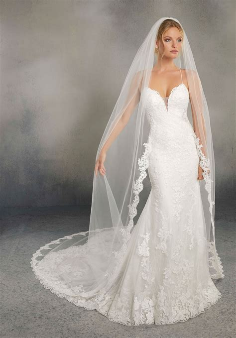 Angel Cut Veil Edged With Sequined Lace Style Vl3007