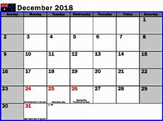December 2018 Calendar Australia Calendar Template