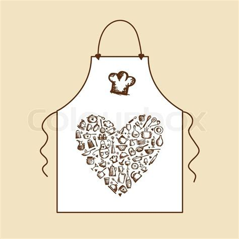 I love cooking! Apron with kitchen utensils sketch   Stock
