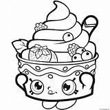 Coloring Strawberry Shopkins Icecream Printable sketch template