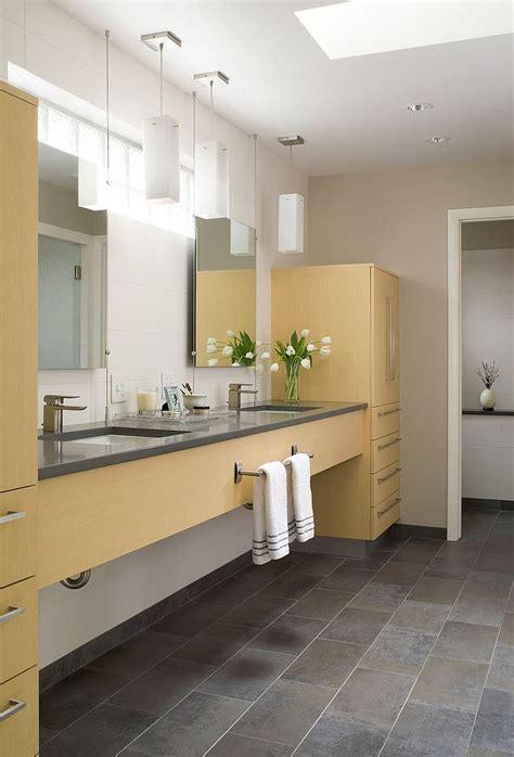trendy  refreshing gray  yellow bathrooms  delight