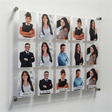 clear acrylic panels staff photo displays staff photo boards jy display and