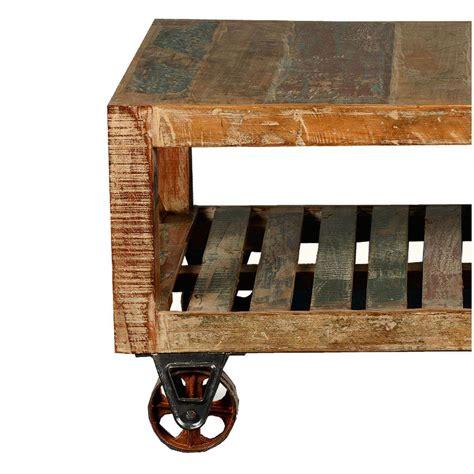 Calhoun Rustic Reclaimed Wood Double X Industrial Cart