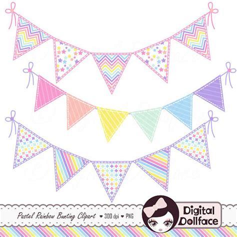 cute digital scrapbook bunting clip art pastel