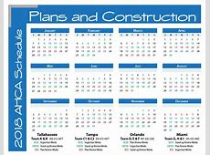 AHCA Plans and Construction 2018 Schedule Calendar