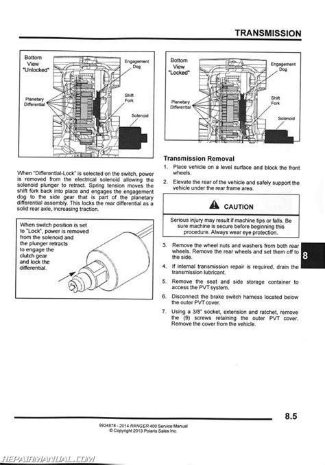 polaris ranger  side  side service manual