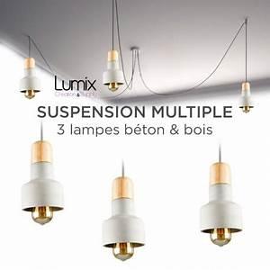 Suspension 3 Lampes : suspension multiple 3 lampes b ton et bois ~ Melissatoandfro.com Idées de Décoration