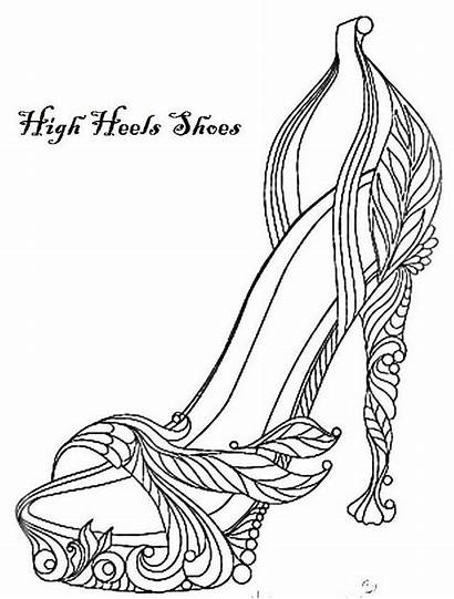 Coloring Heels Shoes Pages Colouring Printable Away