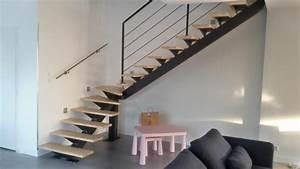 Escalier Fer Et Bois : escalier m tallique quart tournant bas bellegarde ~ Dailycaller-alerts.com Idées de Décoration