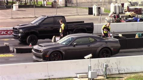 After that, things get a little murky, and eventually. Dodge Demon vs Cummins Turbo Diesel 1/4 Mile Drag Race - YouTube Callout Maple Grove - YouTube