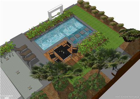 plan appartement 3 chambres projet de jardin contemporain avec piscine hacienda