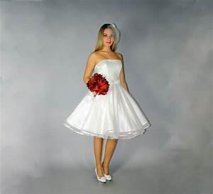 Punktetll Brautkleid Knielang Hochzeitskleid 50er Ivory