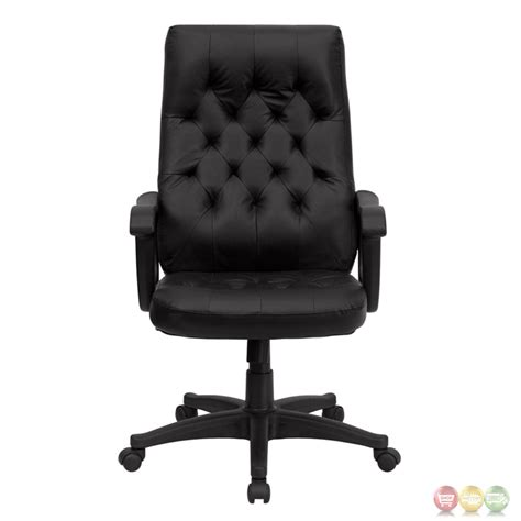 high back traditional black leather executive swivel