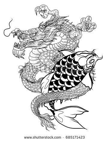 hand drawn dragon koi fish flower stock vector