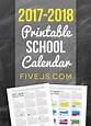 Free Printable School Calendar for 2017-2018 - Five J's ...