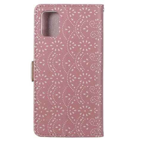 Lace Pattern Samsung Galaxy A51 Wallet Case - Rose Gold