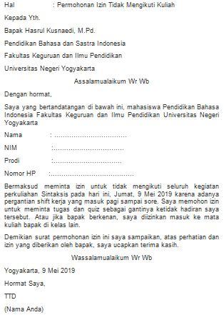 contoh surat izin tidak masuk kuliah  kerja fahmifebi