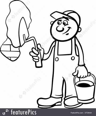 Worker Coloring Trowel Brick Wall Illustration Cartoon