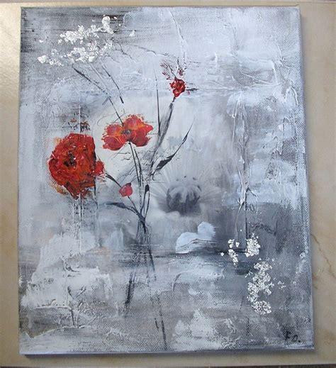 tableau peinture fleurs rouges 9