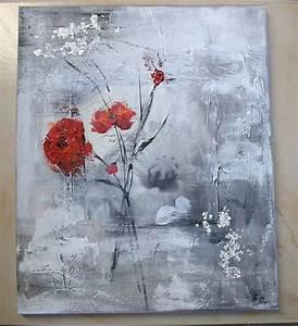 Tableau Fleurs Moderne : tableau peinture fleurs rouges 9 ~ Teatrodelosmanantiales.com Idées de Décoration