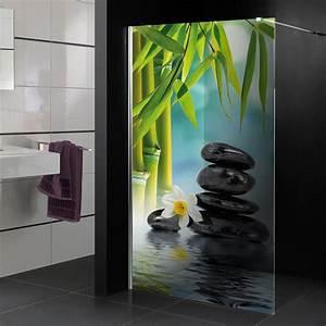 Stickers Porte Salle De Bain : stickers paroi de douche semi translucide zen pas cher ~ Dailycaller-alerts.com Idées de Décoration